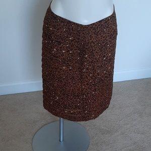 Larry Levine  Ruffled Animal Print Skirt
